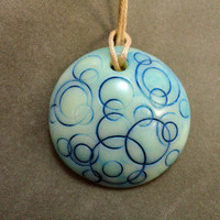 Blue Moon polymer clay glow in the dark pendant by PCharmingThings