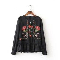 Japanese Mori Girl Vintage Hippie Boho Bohemian Cute Harajuku Gypisy Floral Embroidery Rufffle Cotton Spring Shirt Ladies Blouse