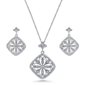 Sterling Silver CZ Art Deco Filigree Flower Necklace and Earrings SetBe the first to write a reviewSKU# vs541-01