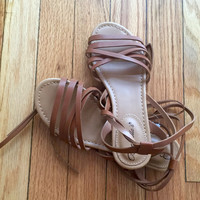 Wrap Game Sandals in Tan