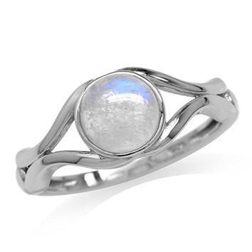 Junes Birthstone Natural Moonstone 925 Sterling Silver Solitaire Ring