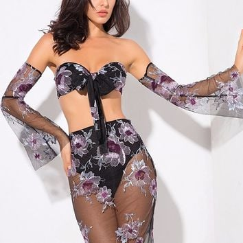 Floral Romance Black Purple Sheer Mesh Long Flare Sleeve Tie Bandeau Mini Skirt Two Piece Dress
