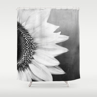 B&W Sunflower Shower Curtain by Viviana González