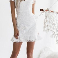 V Neck  Backless See Through  Plain  Short Sleeve Bodycon Dresses