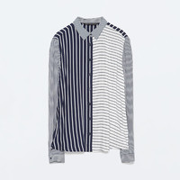 Striped combination blouse