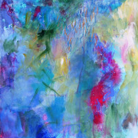 """Abstract Painting on Canvas Intuitive Expressionist Acrylic Painting """"Gazing at the Waters"""""""