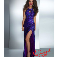Purple Sequin Keyhole Stretch Knit Cowl Back Gown
