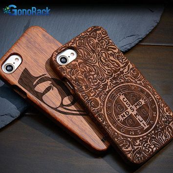 100% Genuine Wood Case For iPhone 7 7 Plus Case Vintage Luxury Hard Back Cover Cases For iPhone 5 5S SE 5C 6 6s Plus Coque Shell