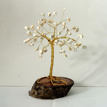 White Turqoise Gemstone  Wire Tree,wire tree of life,wire tree sculpture,gem tree