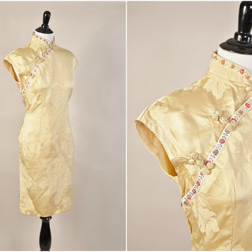 antique gold asian floral embossed satin cheongsam style pinup cocktail dress vintage 1950s