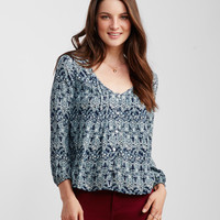 Long Sleeve Paisley Peasant Top