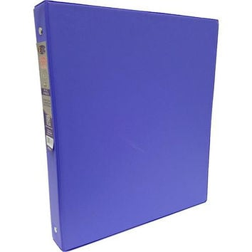 "1"" Purple Vinyl 3-Ring Binder w/ 2 Pockets"