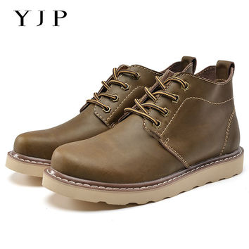 YJP Leather Desert Boots, Brown Lace-Up Platform Chukka Boots , Breathable Men's Work Boot, Round Toe High Top Casual Shoes