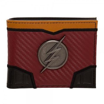 DC Comics The Flash Domed Metal Badge Carbon Fiber Bi-Fold Wallet