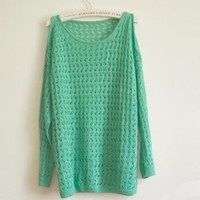 Green Sexy Strapless Knit Sweater $42.00