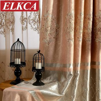 European Embroidered Blackout Curtains for Living Room Beaded Sequins Window Curtains for the Bedroom Lace Luxury Curtains