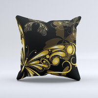 Vibrant Gold Butterfly Outline ink-Fuzed Decorative Throw Pillow