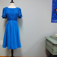 Flirty Vintage Pleated Blue Dress, Vintage 70s Boston Maid, Petite to Small