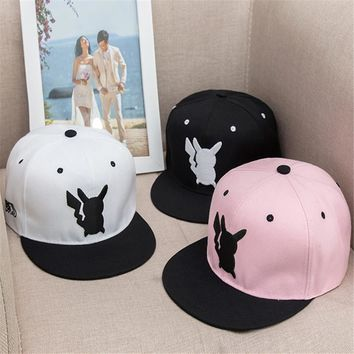 So Kawaii Hip Hop Women's Hats Pokemon Pocket Monster Pikachu Cosplay Flat Hat Female Men Baseball Cap Snapback Caps