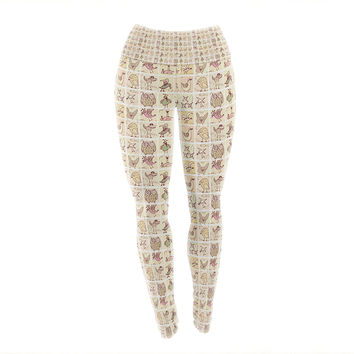 "Marianna Tankelevich ""Cute Birds"" Tan Grid Yoga Leggings"