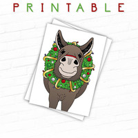 Printable Christmas Card, Donkey Christmas Cards, Farm Christmas Card, Unique Christmas Card, Cute Donkey Christmas Wreath, Illustrated Card