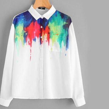 White Pocket Front Painting Print Blouse With Button Fall Lapel Collar Top Women's Casual Blouse