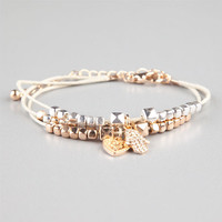 Full Tilt Hamsa Hand/Heart/Bead Cord Bracelet Metal One Size For Women 24504219101