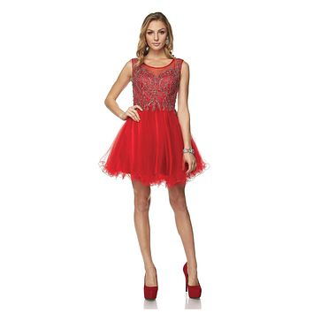 Juliet 789 Scoop Neck Appliqued Bodice Short Prom Dress Red