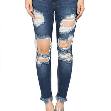 Machine Jean Denim Destroyed Unfinished Hem Skinny Jeans