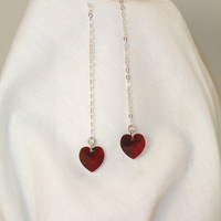 Swarovski Crystal Heart and Sterling Chain Thread-Thru Earrings from TheSilverJewelryBox
