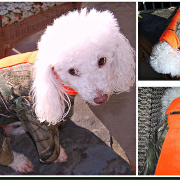 Realtree Camo. Dog Shirt. pjs .pajamas. warm dog costume. orange necktie. Duck Dynasty inspired. redneck dog outfit