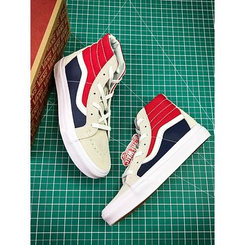 Vans Sk8 Hi Red Blue White Vn0a2xsbqkn18 Canvas Shoes - Sale 00832b09318a