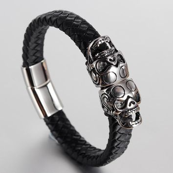 Punk Genuine Leather Bracelet Bangle Double Skull Charm Bracelet Men Women Woven Leather Rope Jewelry Magnet