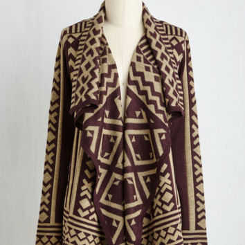 Mid-length Long Sleeve Jetset in Motion Cardigan in Plum