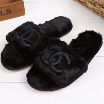 Chanel Fashion Casual Wool Women Sandal Slipper Shoes Black