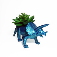 Up-cycled Large Metallic Topaz Triceratops Planter