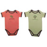 Hudson Baby Organic Touched By Nature Neutral Design Bodysuit, Coral Leaf