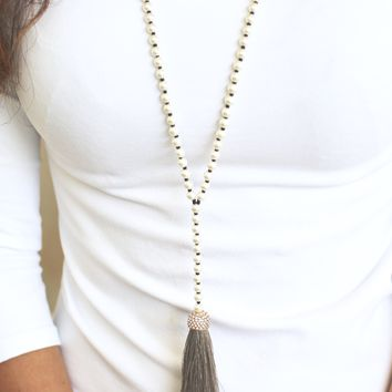 Long Pearl Bead with Tassel Necklace