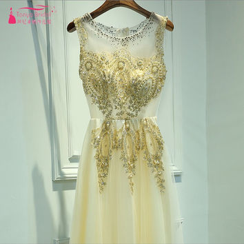 Real Dress In Stock O Neck Long Lace Appliques Prom Dresses Gold Tulle A Line Evening Prom Gown