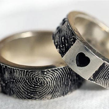 Fingerprint Ring Wedding Band Personalized by rockmyworldinc