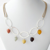 Boho Artisan Multi Colored Agate Stone Wire Wrapped Necklace Hammered Rings Tan Suede Gray Honey Yellow Orange Red Brown Sterling Silver