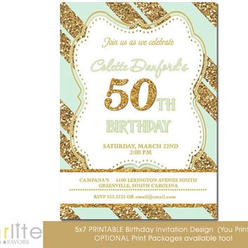 50th Birthday Invitation, Milestone Birthday Invitation - any age Gold Tone Glitter Mint Stripes - 5x7 - Modern Number - unique - You Print