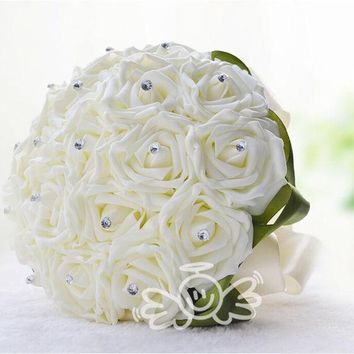 PEAPIX3 2015 New Wedding Dec Bridal Bouquet Rose Silk Pearls Handmade Bridesmaid Flowers Posy Bridal Hand Hold Flowers WYF107 (Color: Beige) = 1933150468