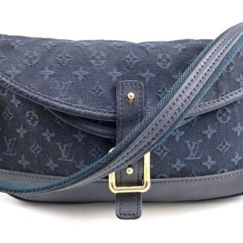 Louis Vuitton Authentic Monogram Canvas Mini Lin Women's Satchel Bag Dark Blue