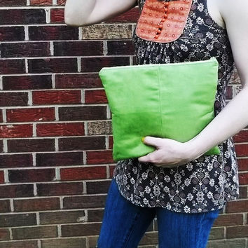 Spring Green Clutch Purse - Handmade Vegan Suede Pouch - Bridesmaid Clutches