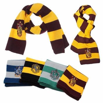 16cm*170cm New Fashion 4 Color College Scarf Happy Potter Gryffindor Hufflepuff Ravenclaw Slytherin Series Badge Cosplay Knit