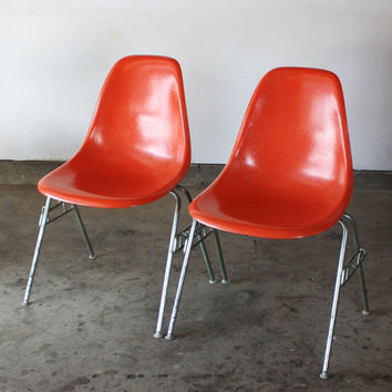 Pair of Orange Vintage Eames Shell Chair