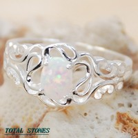 WHITE FIRE OPAL GEMSTONE SILVER RING SIZE 8 R6858