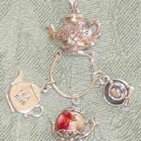 Teapot Charm Holder Pendant with Tea Charms