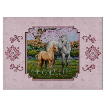 Quarter Horse Mare and Foal Pink Cutting Boards